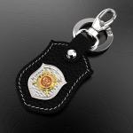 Кожаный брелок МВД РОССИИ (серебро 925 пробы)